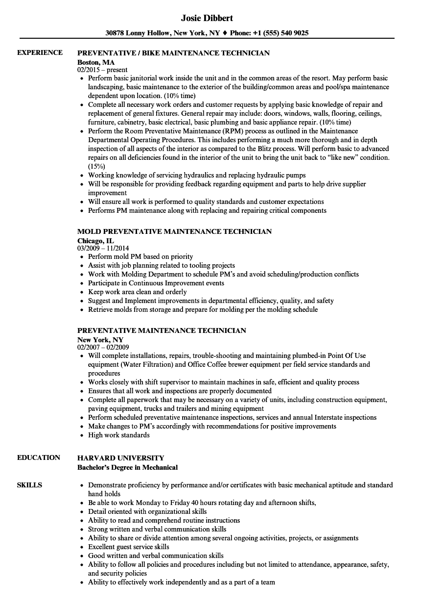 Preventative Maintenance Technician Resume Samples | Velvet Jobs