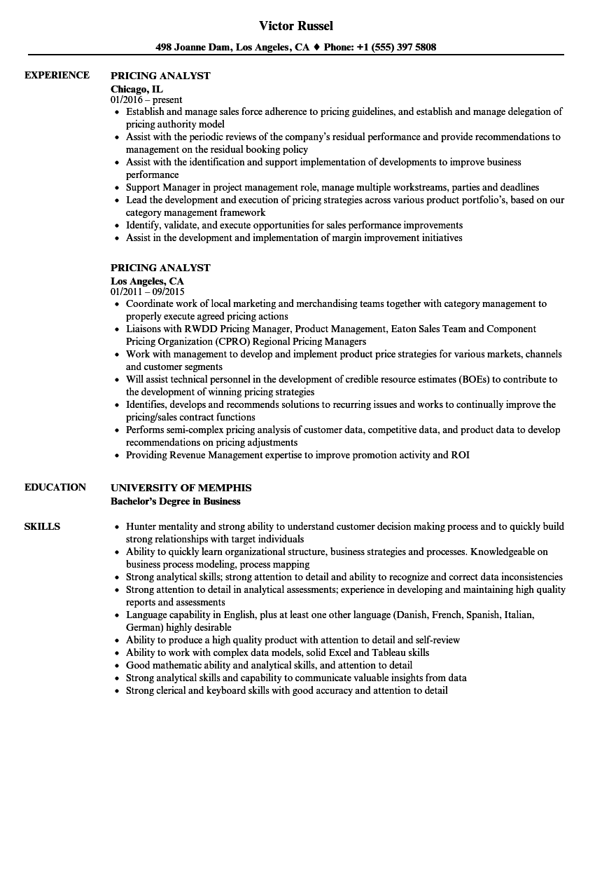 Good Velvet Jobs Idea Pricing Analyst Resume