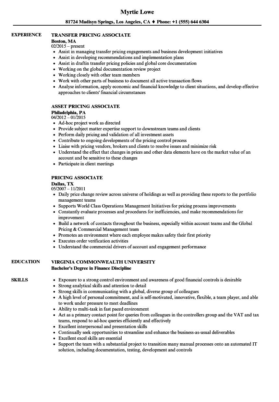 pricing associate resume samples velvet jobs