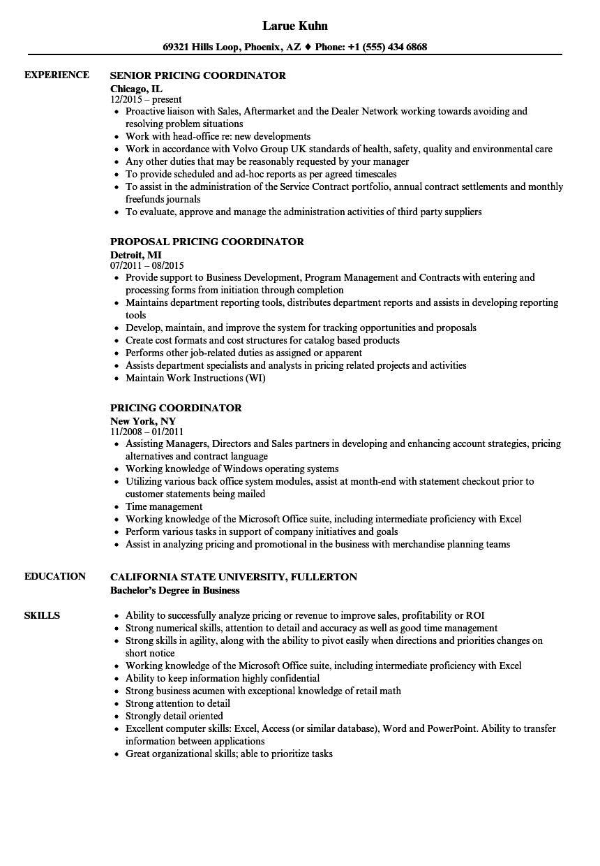 pricing coordinator resume samples
