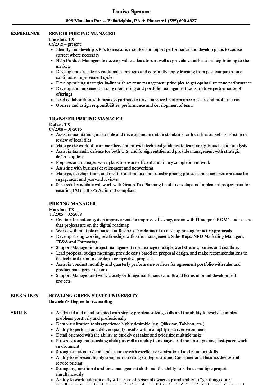 pricing manager resume samples