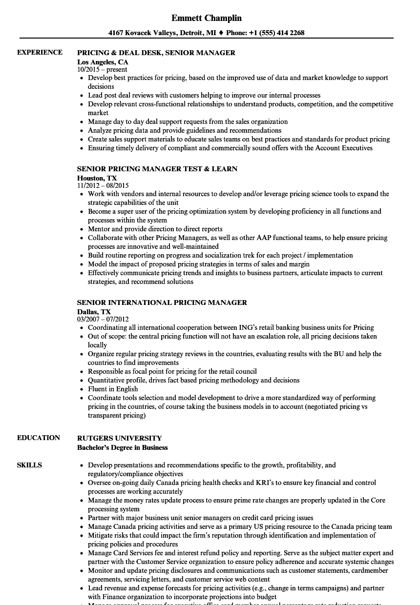 pricing senior manager resume samples