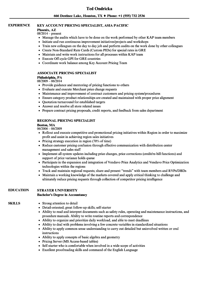 Pricing Specialist Resume Samples | Velvet Jobs
