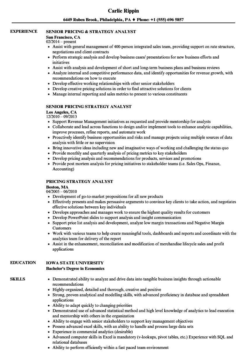 pricing strategy analyst resume samples