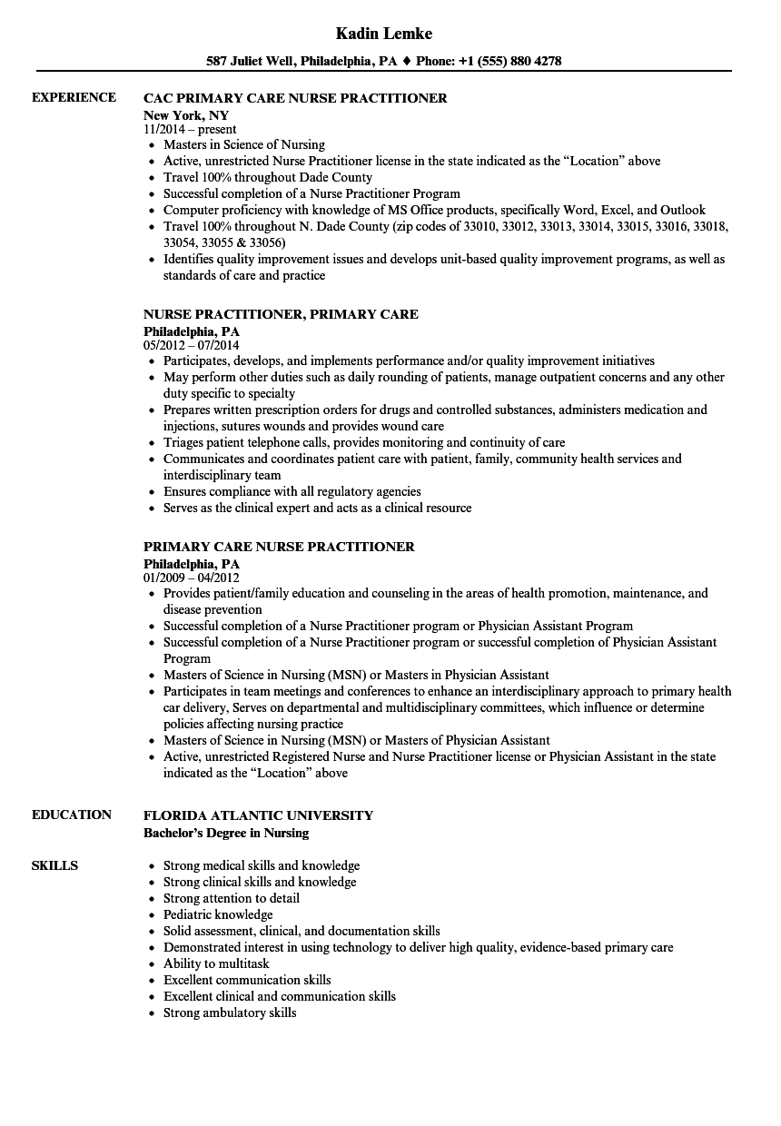 Primary care nurse practitioner resume samples velvet jobs for Sample rn resume 1 year experience