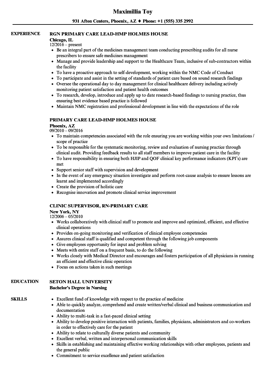 primary care resume samples