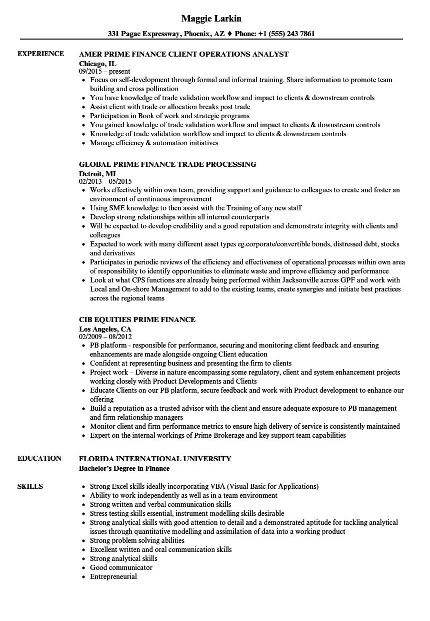 Prime Finance Resume Samples Velvet Jobs