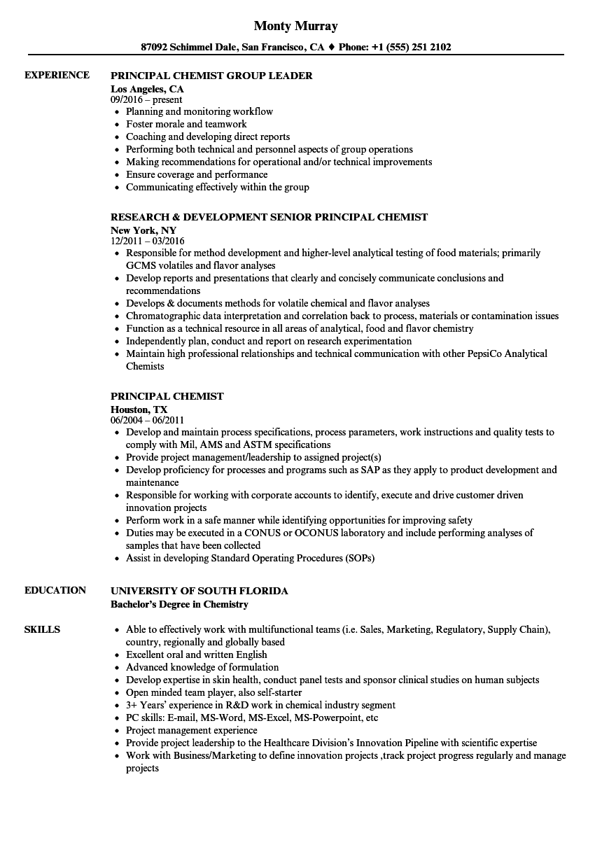 principal chemist resume samples velvet jobs