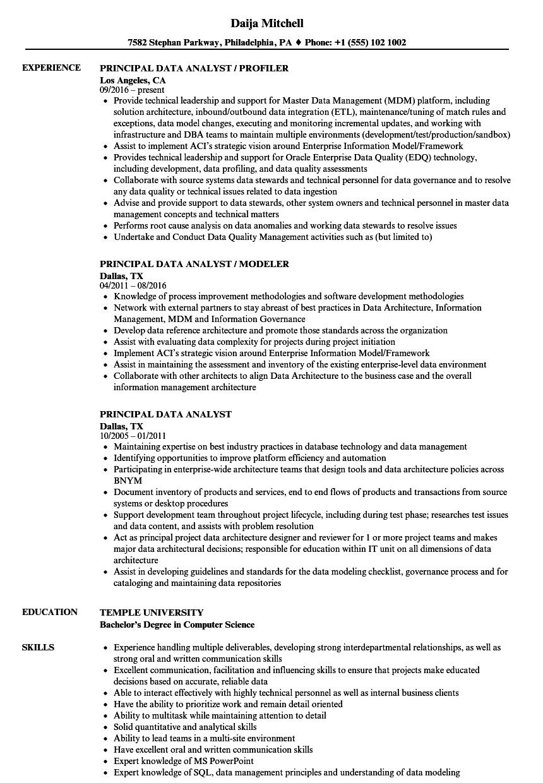 principal data analyst resume samples