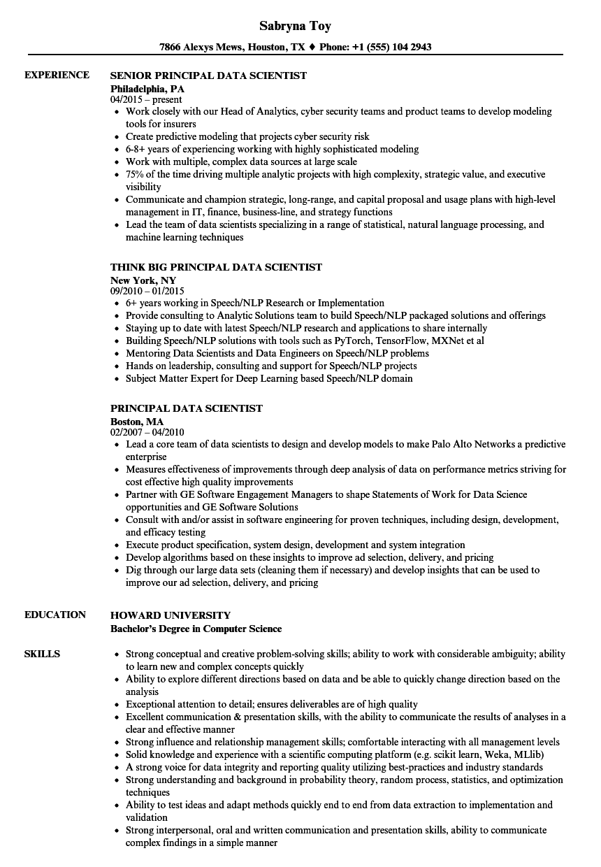 download principal data scientist resume sample as image file - Data Scientist Resume Sample