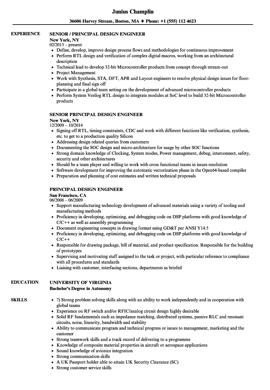 principal design engineer resume samples velvet jobs
