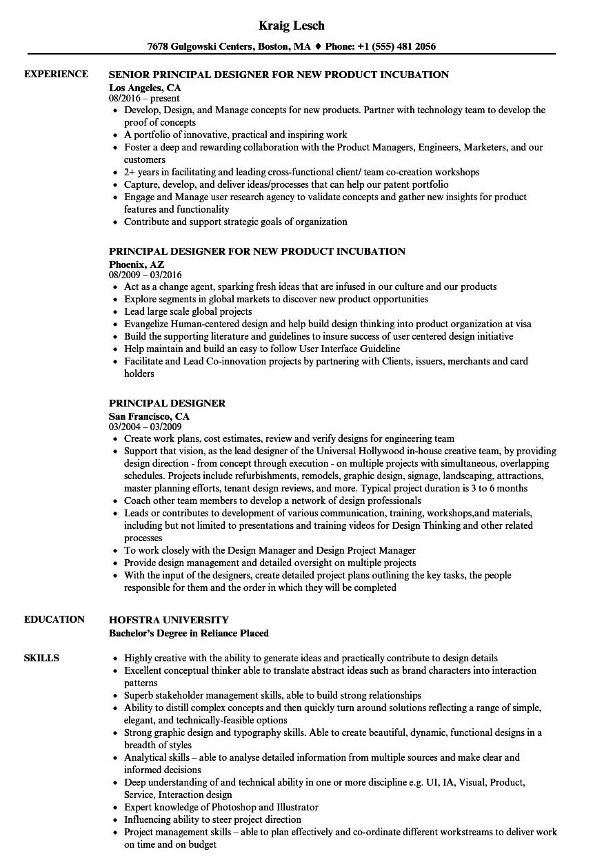 principal designer resume samples