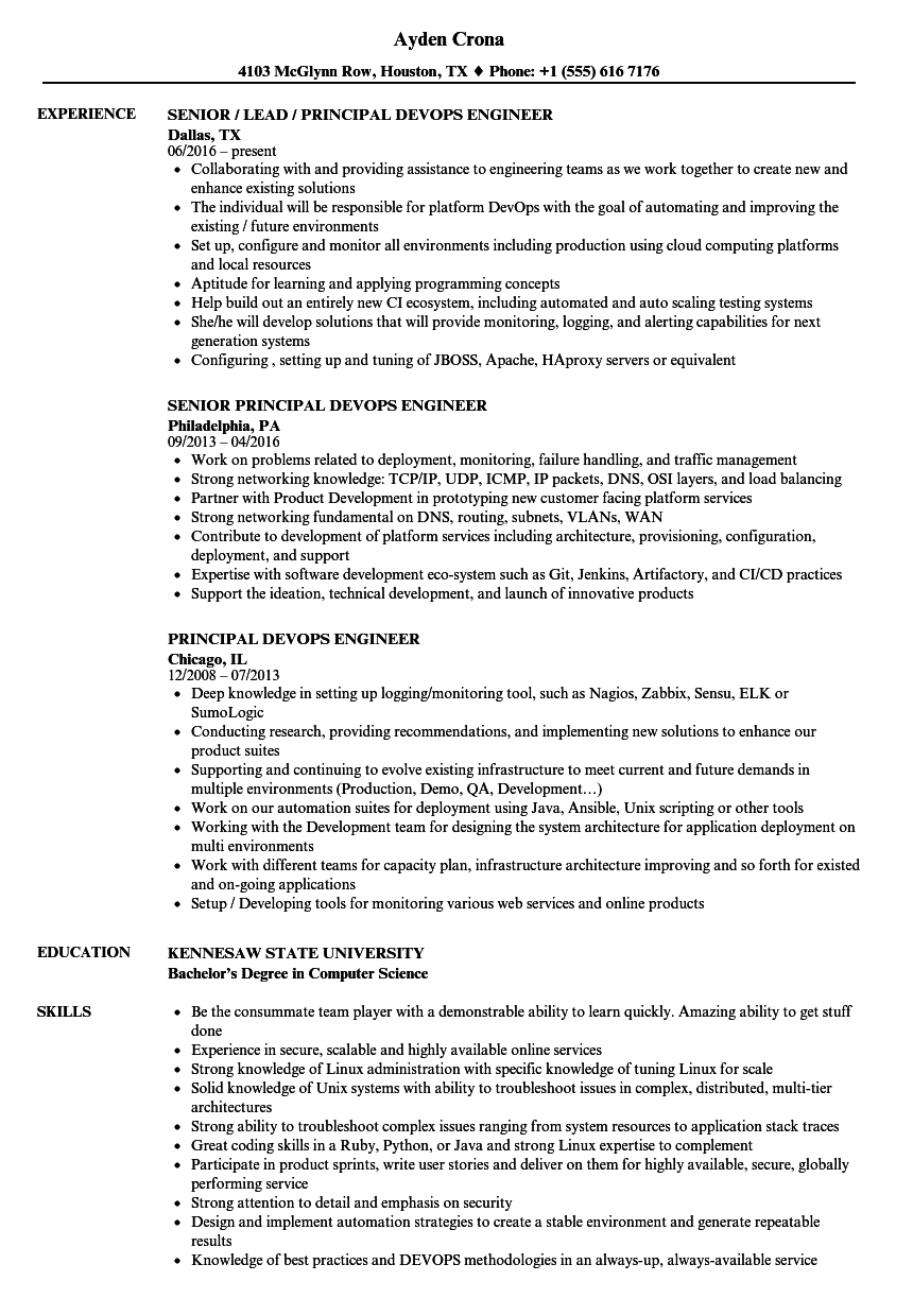 principal devops engineer resume samples