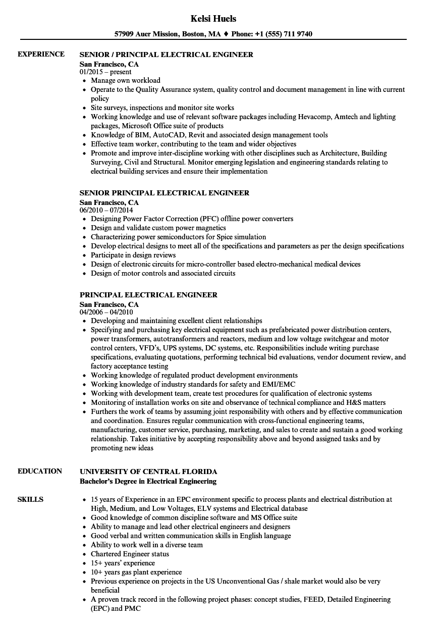 Principal Electrical Engineer Resume Samples Velvet Jobs