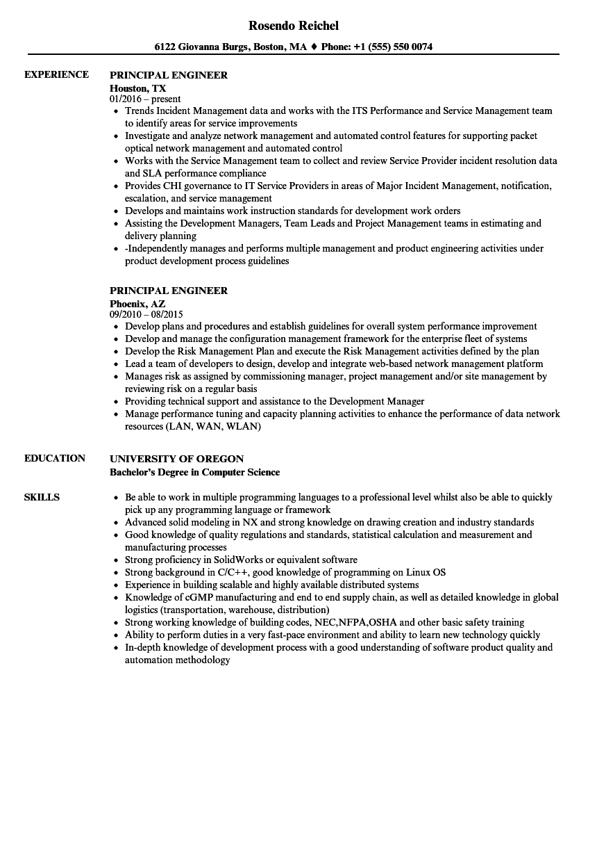 principal engineer resume samples