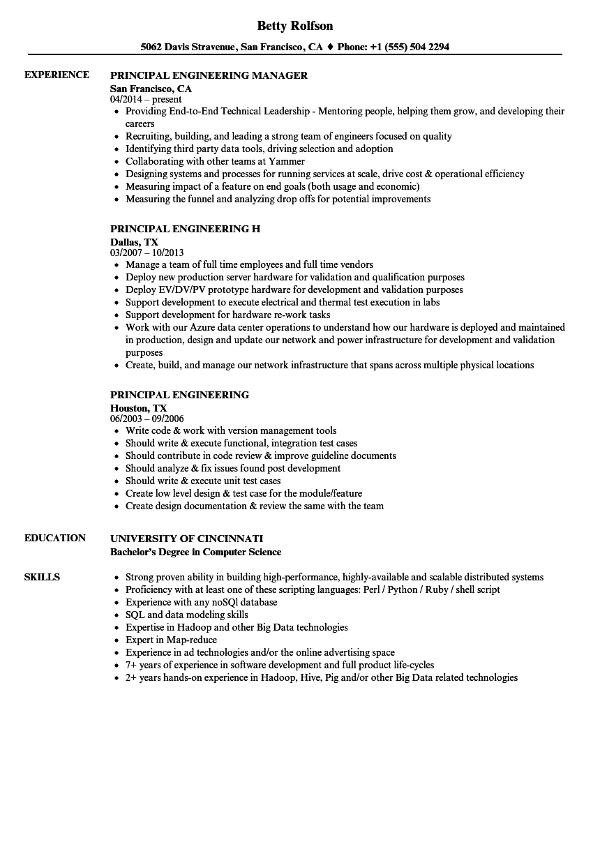 principal engineering resume samples