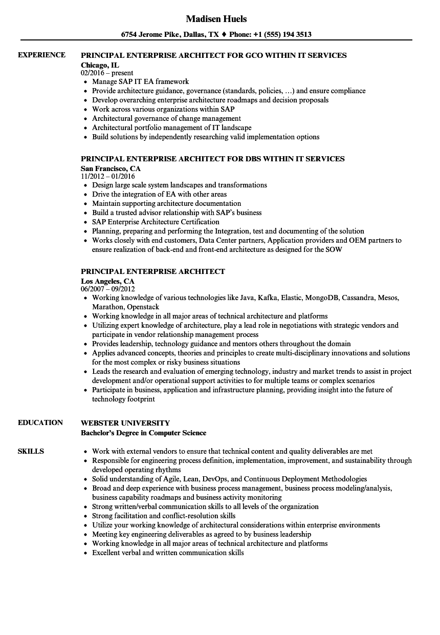 Download Principal Enterprise Architect Resume Sample As Image File