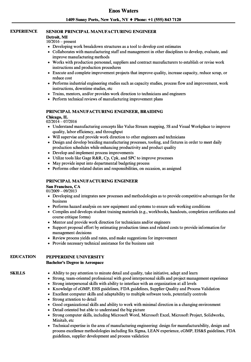 principal manufacturing engineer resume samples