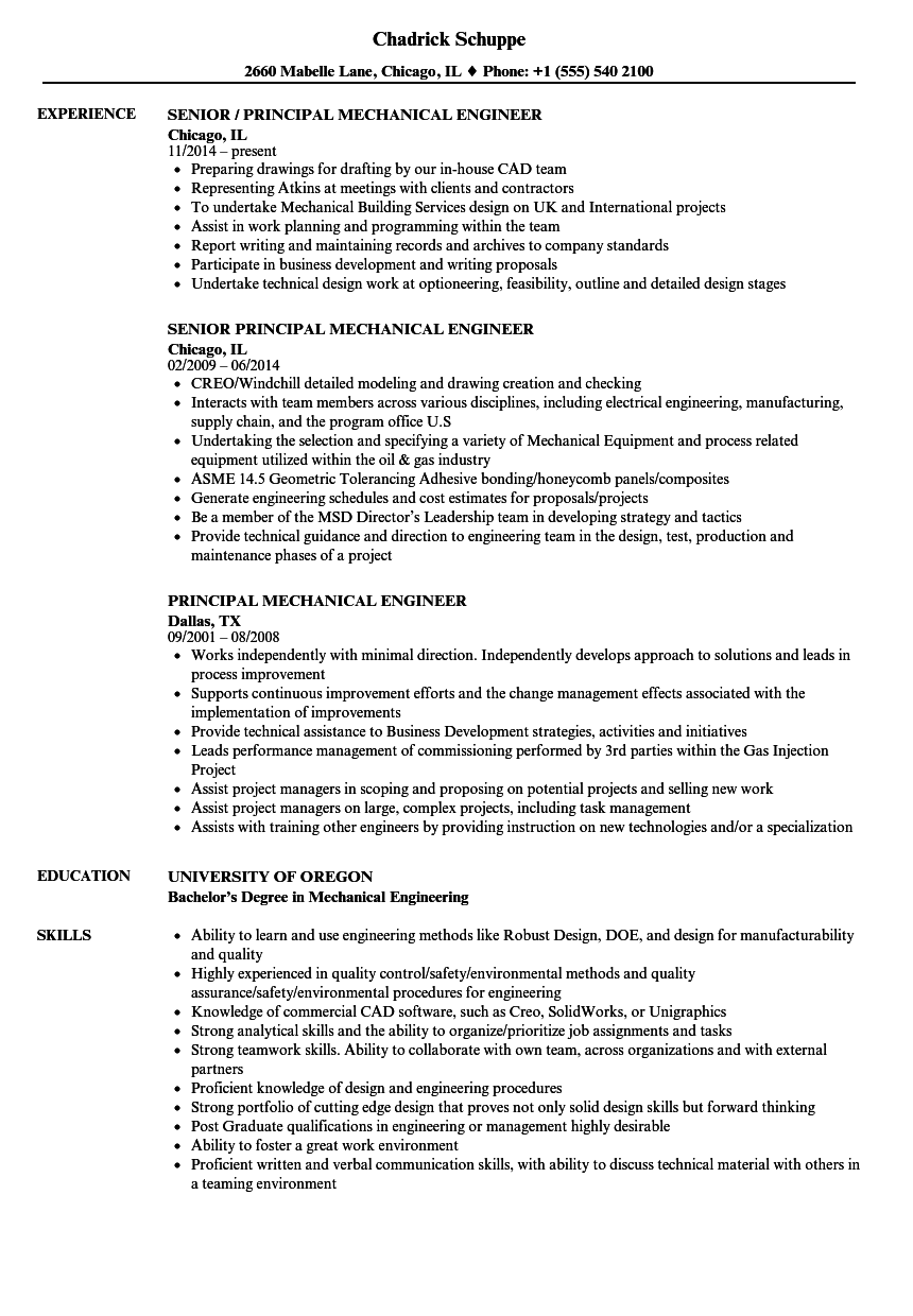 Principal Mechanical Engineer Resume Samples Velvet Jobs