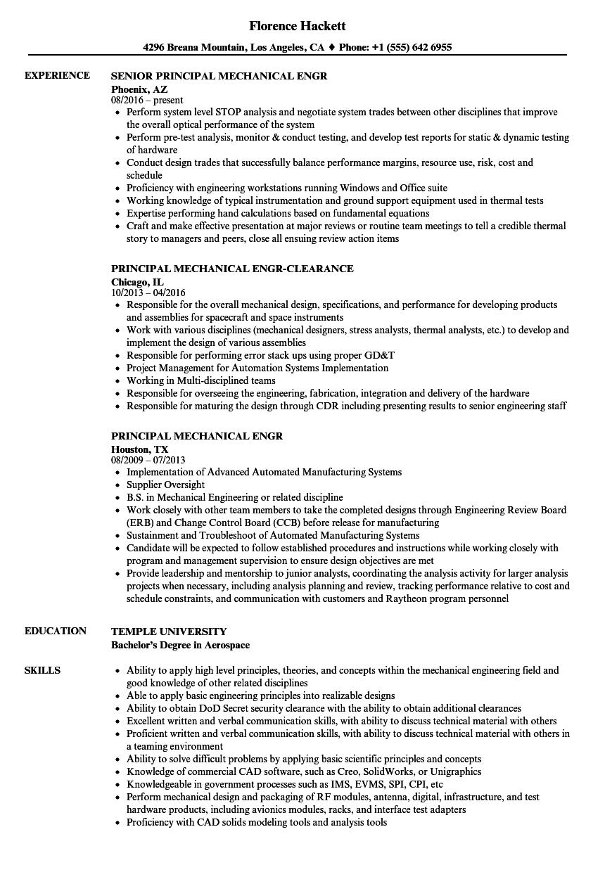 principal mechanical engr resume samples