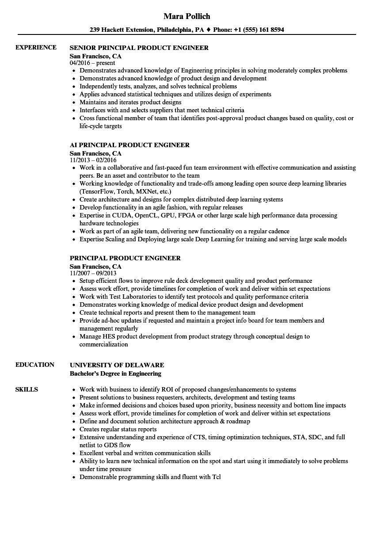 principal product engineer resume samples