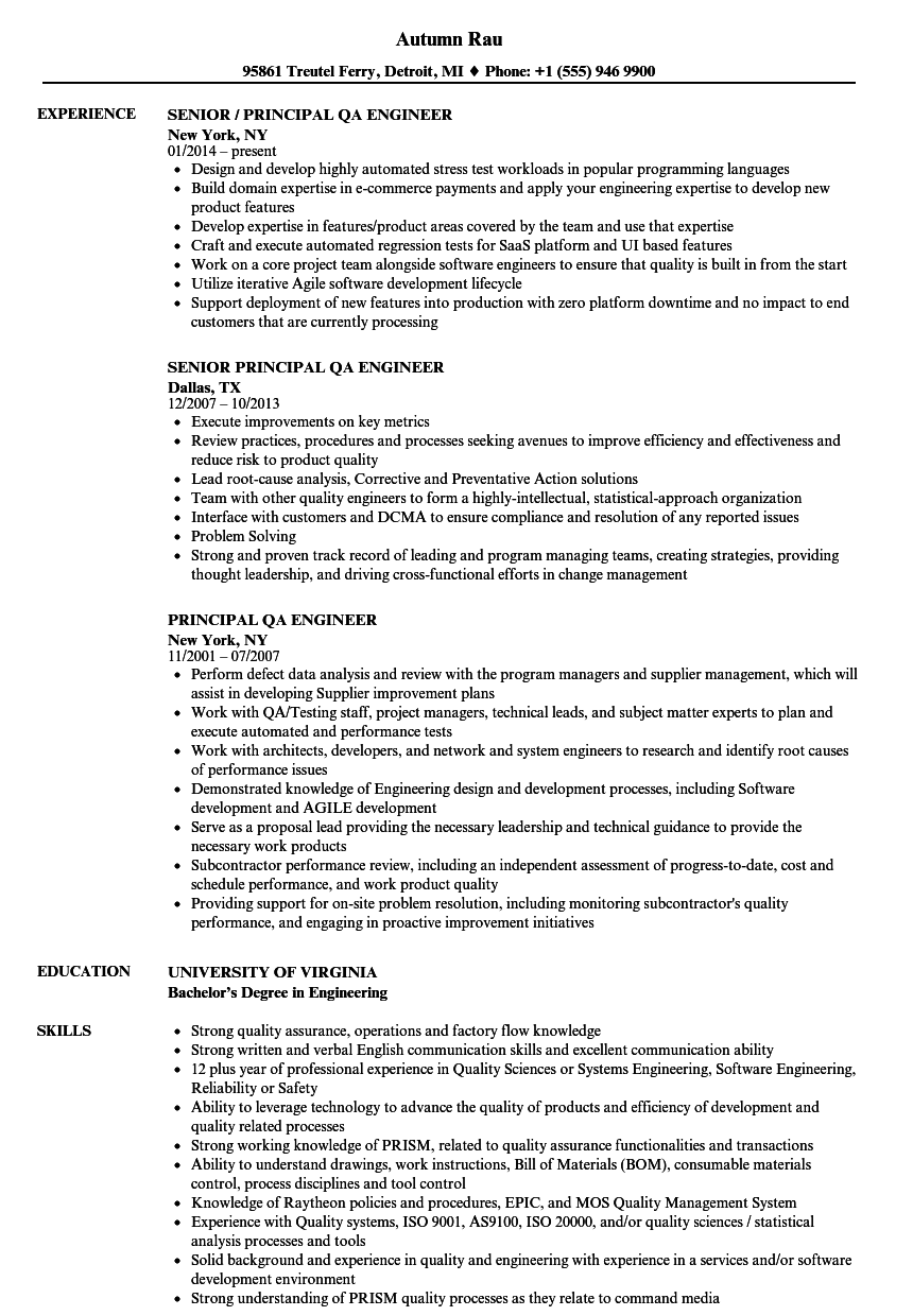 Principal Qa Engineer Resume Samples Velvet Jobs