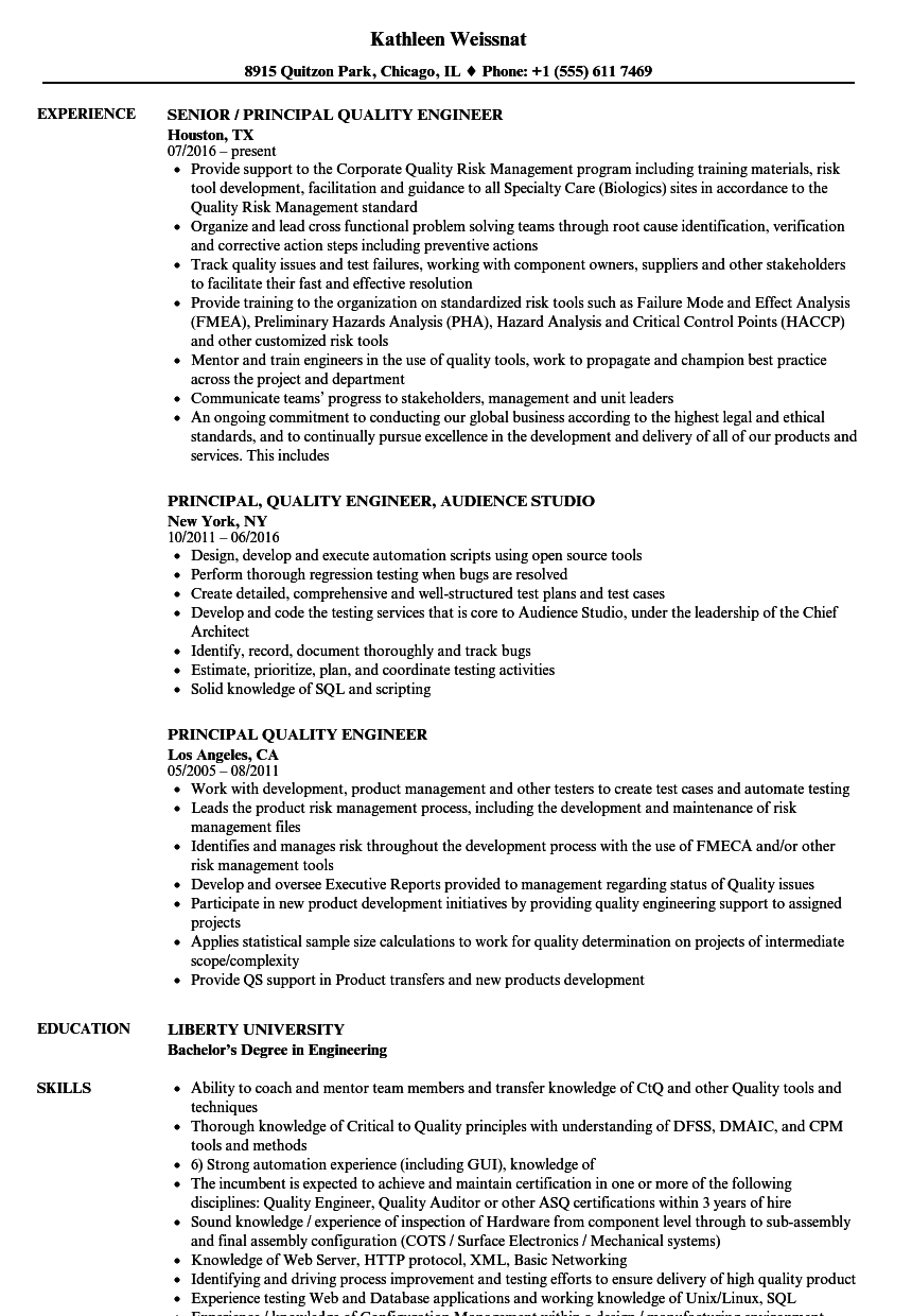 Principal Quality Engineer Resume Samples Velvet Jobs