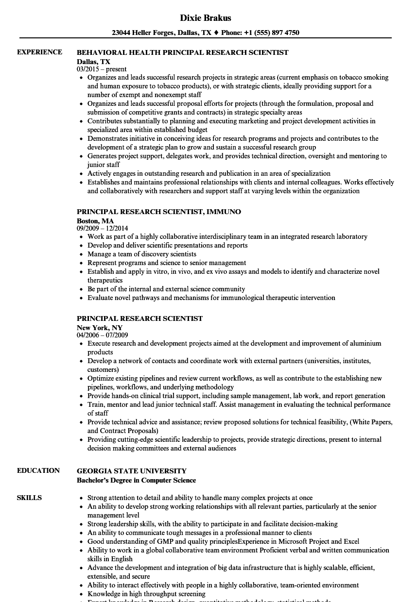 principal research scientist resume samples