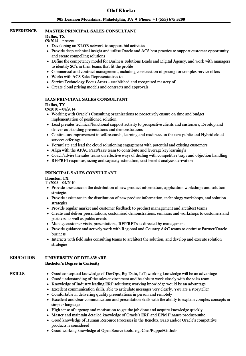 download principal sales consultant resume sample as image file