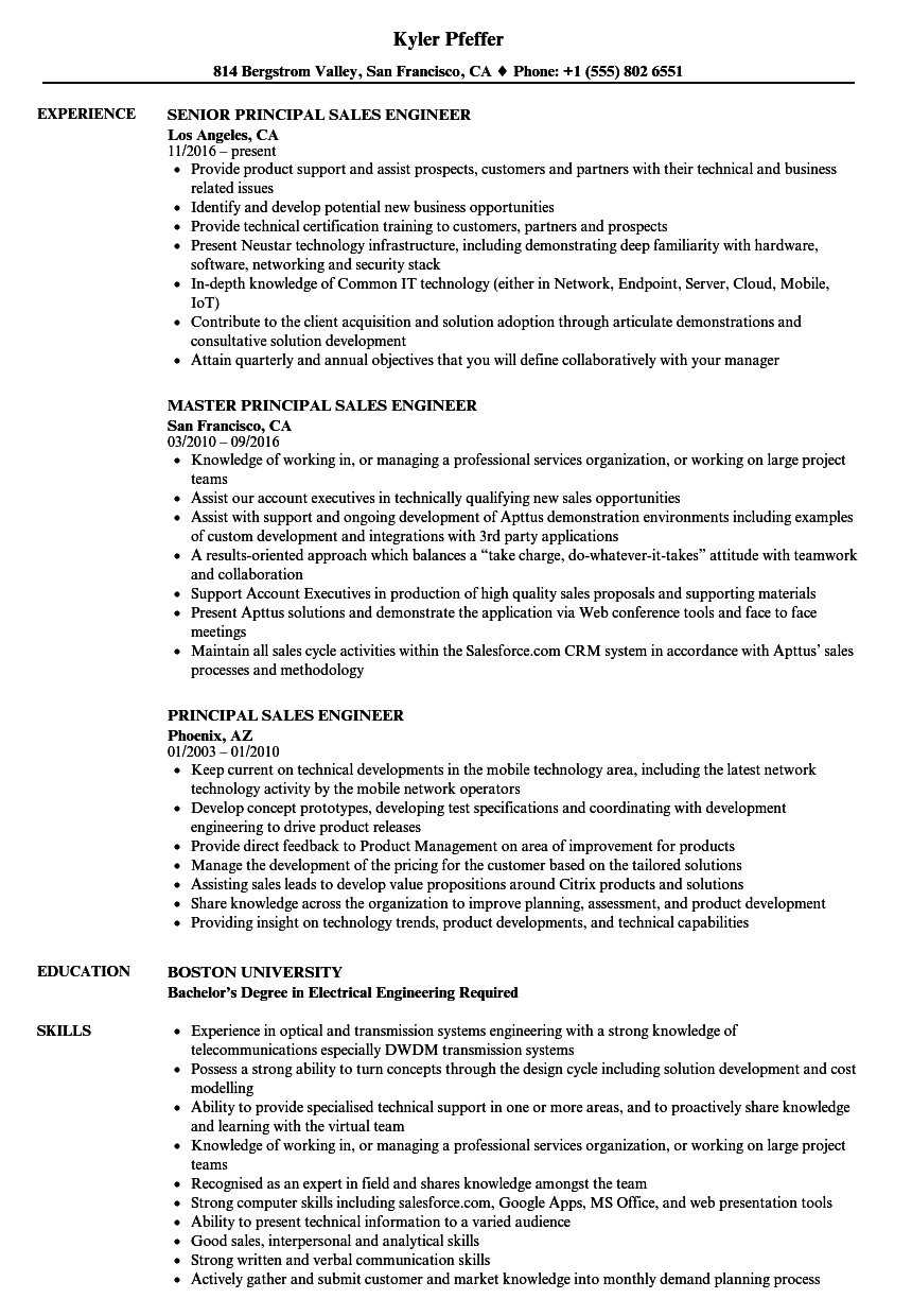 principal sales engineer resume samples