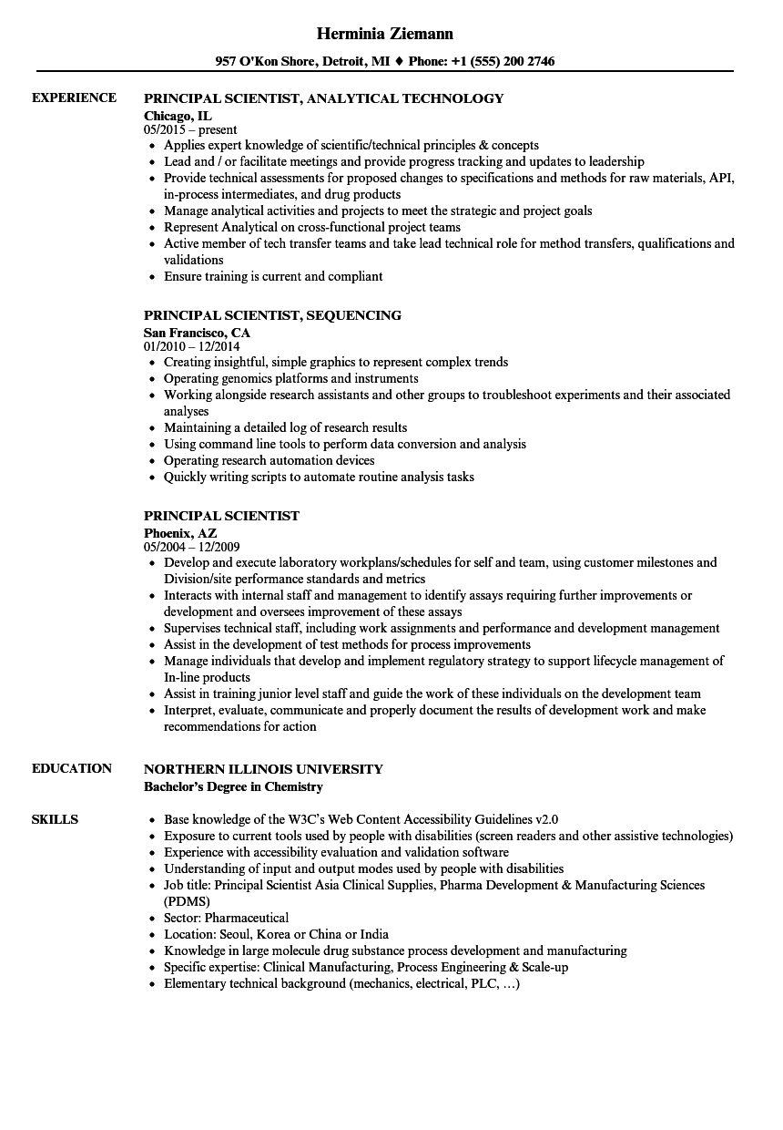 principal scientist resume samples