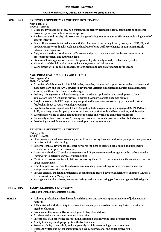 Principal Security Architect Resume Samples Velvet Jobs