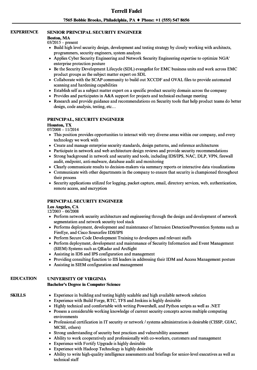 principal security engineer resume samples