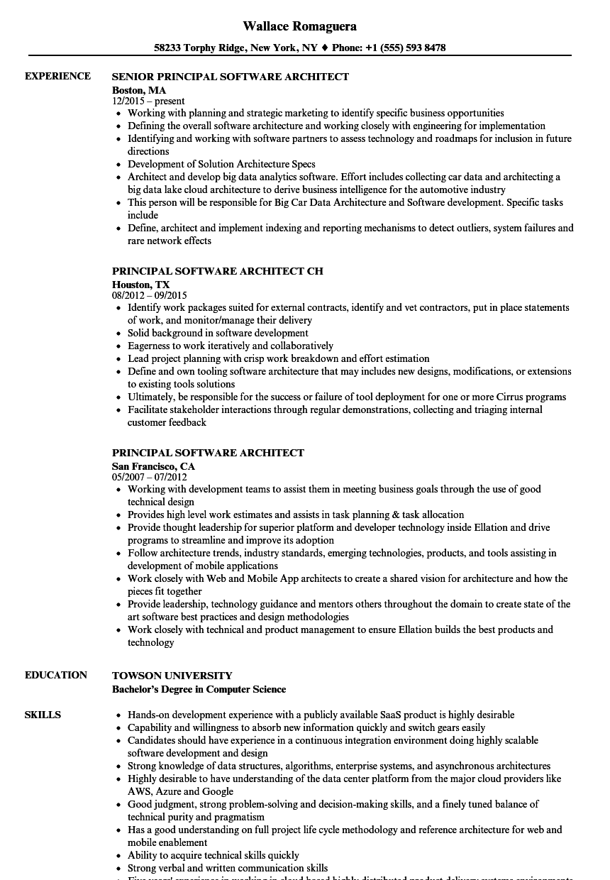 principal software architect resume samples