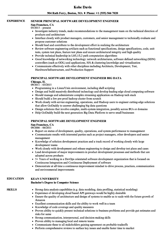 principal software development engineer resume samples