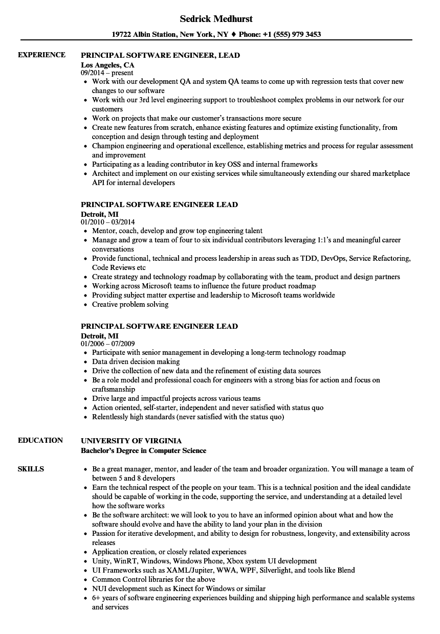 Principal Software Engineer Lead Resume Samples | Velvet Jobs