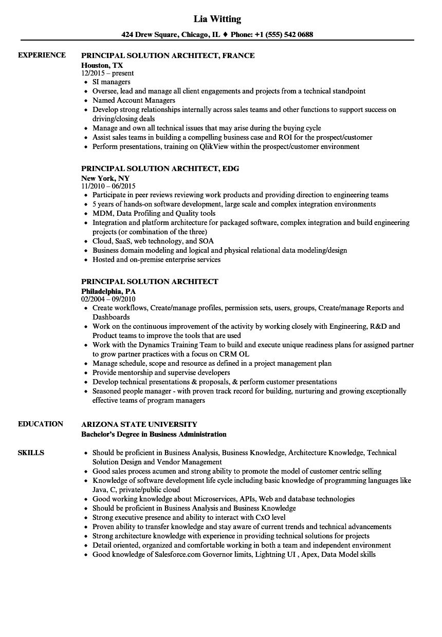 Solution Architect Sample Resume - nmdnconference.com - Example ...