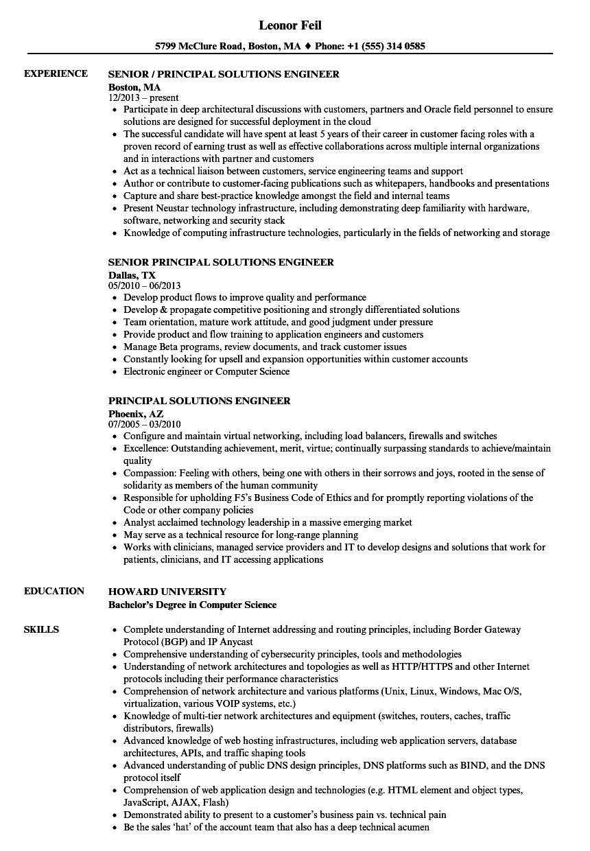 principal solutions engineer resume samples