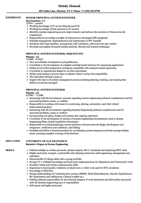 principal system engineer resume samples