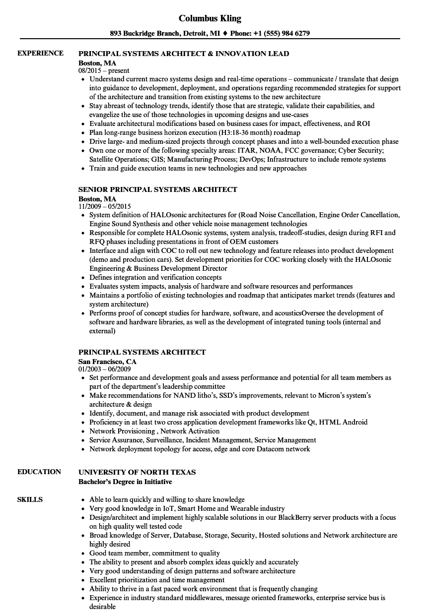 principal systems architect resume samples