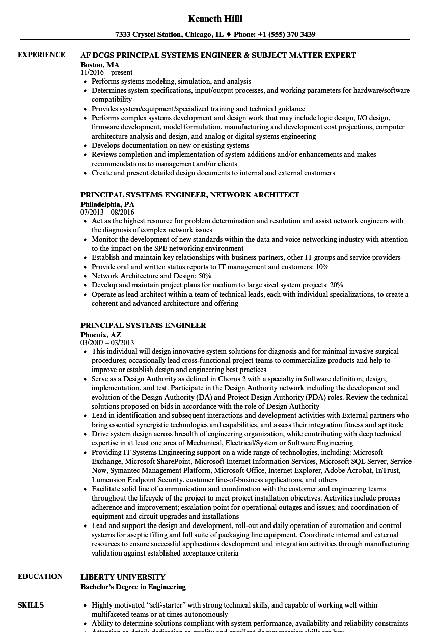Principal Systems Engineer Resume Samples | Velvet Jobs