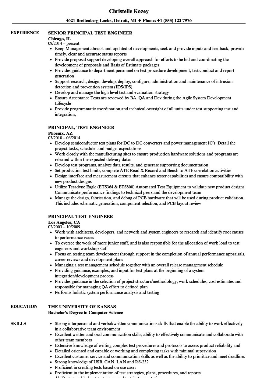 principal test engineer resume samples