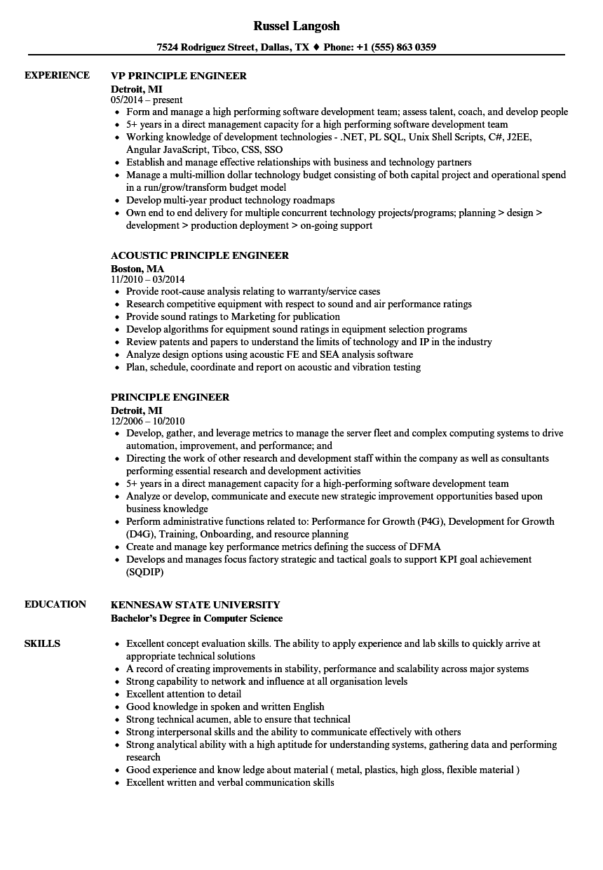 Principle Engineer Resume Samples Velvet Jobs