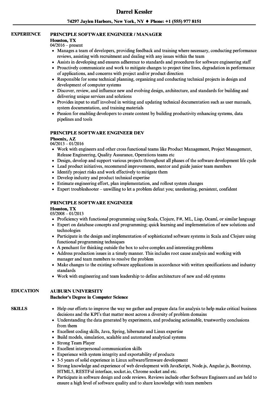 principle software engineer resume samples