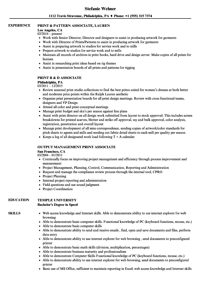 Print Associate Resume Samples | Velvet Jobs