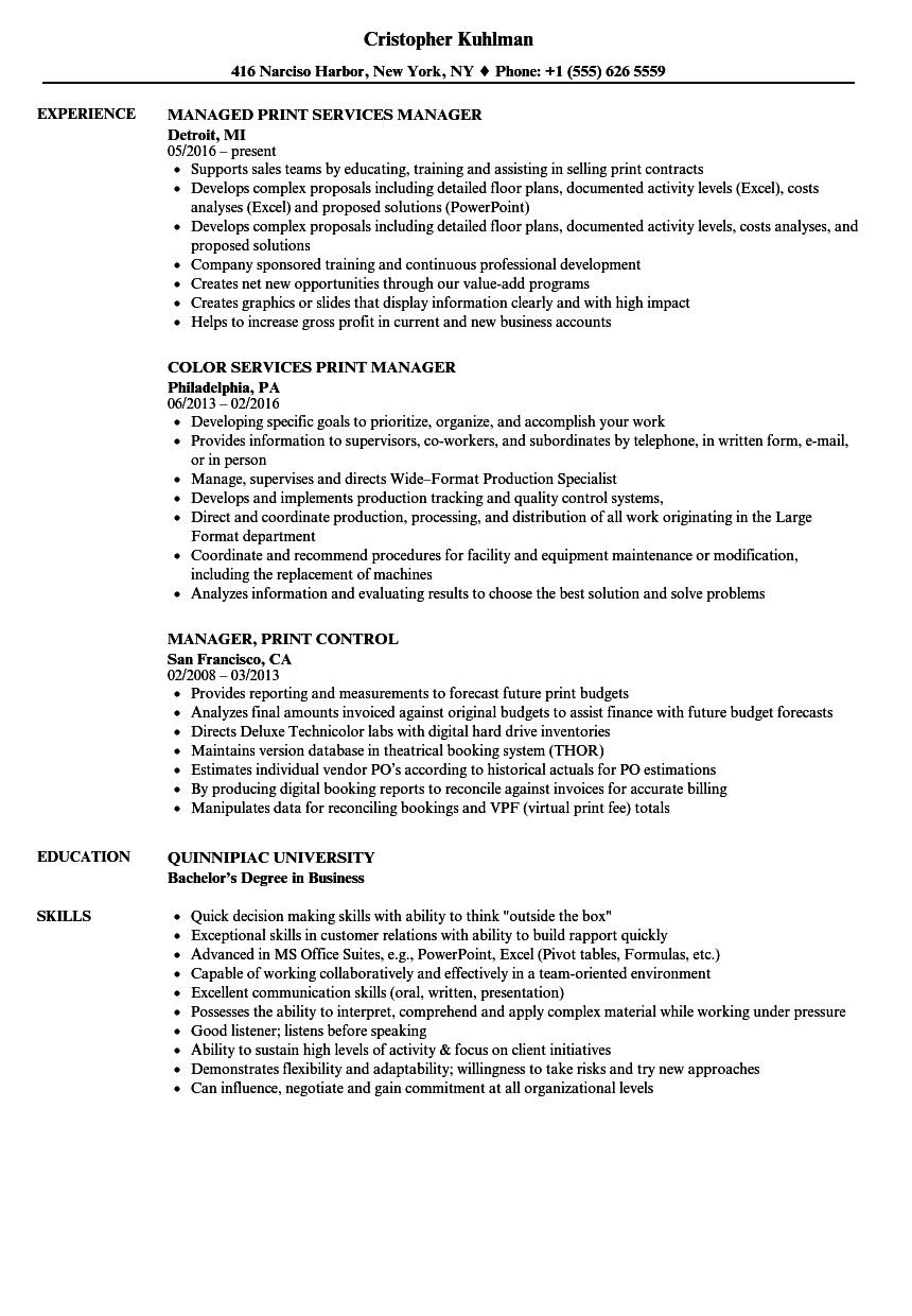 print manager resume samples