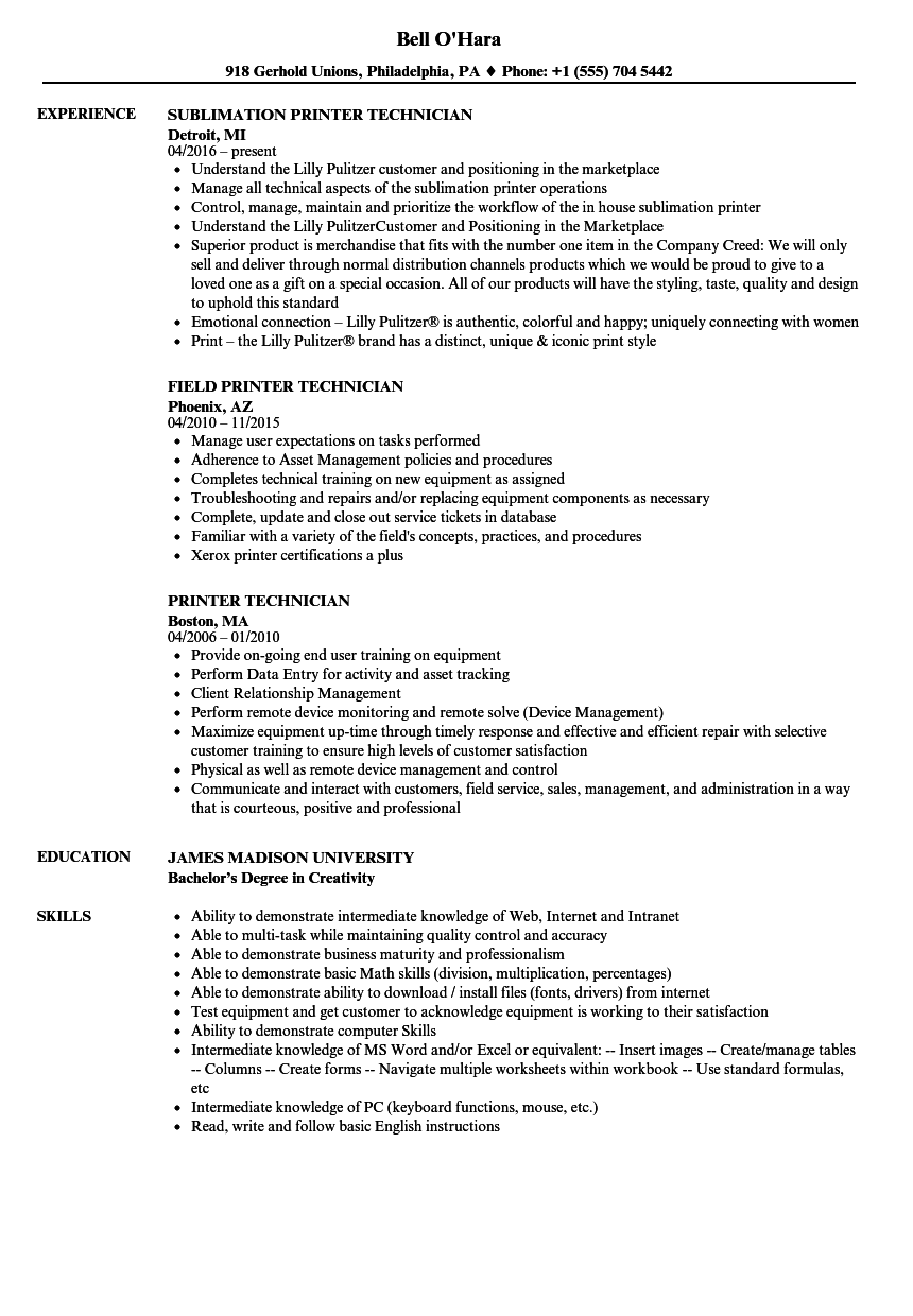 printer technician resume samples