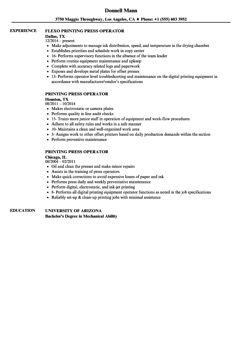 printing press operator resume samples