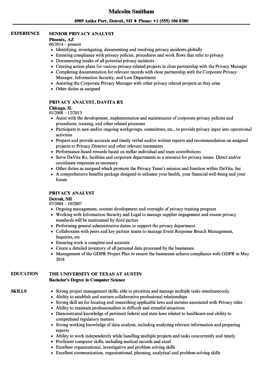 privacy analyst resume samples