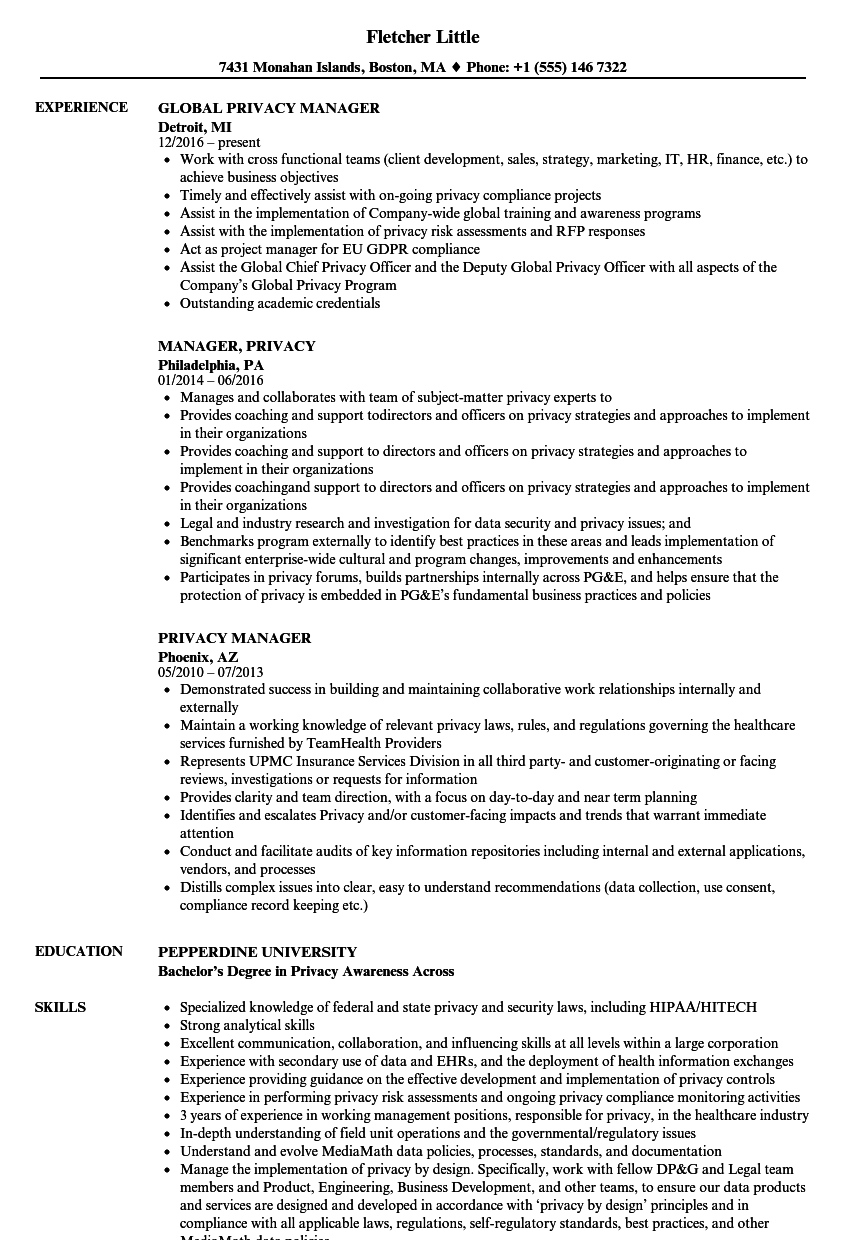 privacy manager resume samples